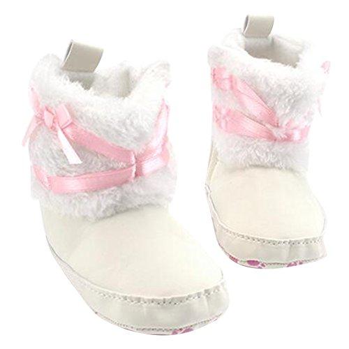 Highdas Winter Neugeborene Baby Mädchen Bowknot Weiche Krippe Schuhe Kleinkind Säuglings Warme Fleece Erste Wanderer Schuhe Weiß