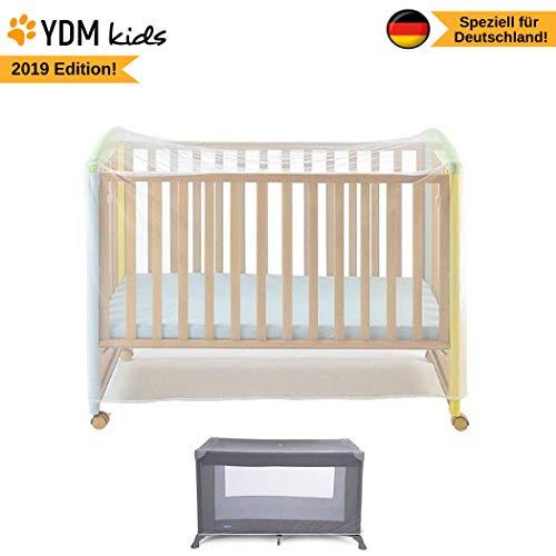 Universal Moskitonetz für Babybett bis 140 x 70 cm Größe, für Gitterbett und Holz Kinderbett, feinmaschiges Premium Insektennetz gegen das kleinste Ungeziefer, weiß - reißfest - waschbar -