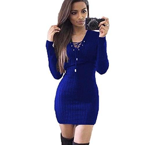 Amlaiworld Damen unregelmäßige Perspektive ärmel hoher Kragen figurbetontes Kleid, Neue Herbst&Winter warme Pullover Kleid (S, - Kleine Leute Vintage