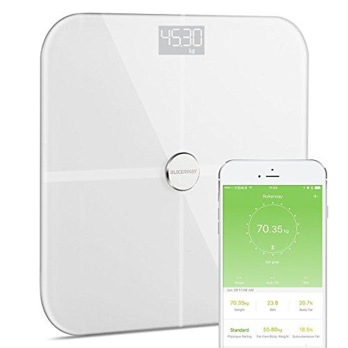 Rukerway Pèse Personne Fat Échelle Bluetooth Composition Corporelle Moniteurs, Smart Poids évolution avec l'iOS et Android App Surveillance, Balance Numérique Assistant du Santé