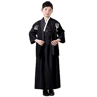 ACVIP Children Boy's Traditional Samurai Japanese Kimono Robe 3 Pieces Set (Fit for Height 135-145cm, Black)