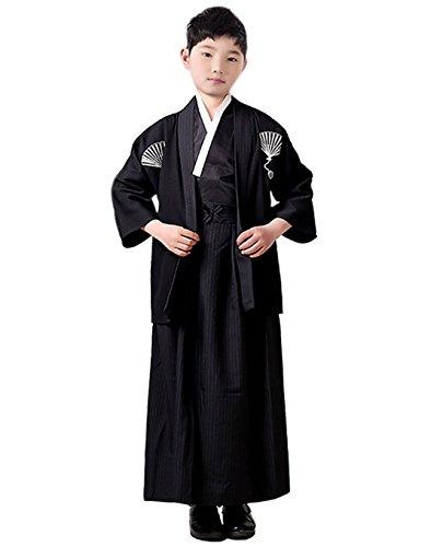 Kostüm Kimono Samurai - ACVIP Jungen Traditionelle Japanische Kimono Kinder Samurai Kostüm Faschingskostüm(7-8 Jahre alt,Schwarz)