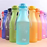 ClookYuan Outdoor Sports Wasserflasche Portable auslaufsicher Candy Farbe Kunststoff-Wasserflasche mit Seil Camping Travel Water Cup - Matt