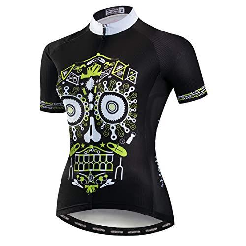 Weimostar Radfahren Jersey Frauen MTB Road Tops Pro Team Sport Bluse Kurzarm Bike Shirts Outdoor Reiten Jersey Fahrrad Jacke Schädel Gelb Größe L -