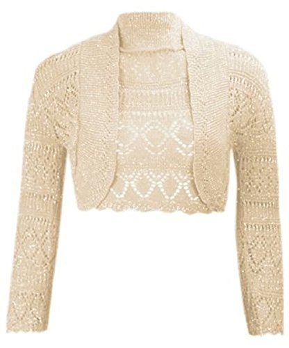 Damen Mädchen Metallic Lurex Kurz geschnitten Bolero Shrug EUR Größe 36-42 (S/M (EUR 36-38), Stein / Gold) (Lurex-sweater-kleid)