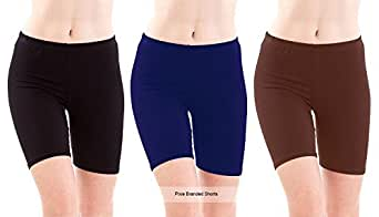 Pixie Women & Girls Cycling Shorts (Pack of 3) (PSHORTS3BBLBR_Black, Blue & Brown_Free Size)