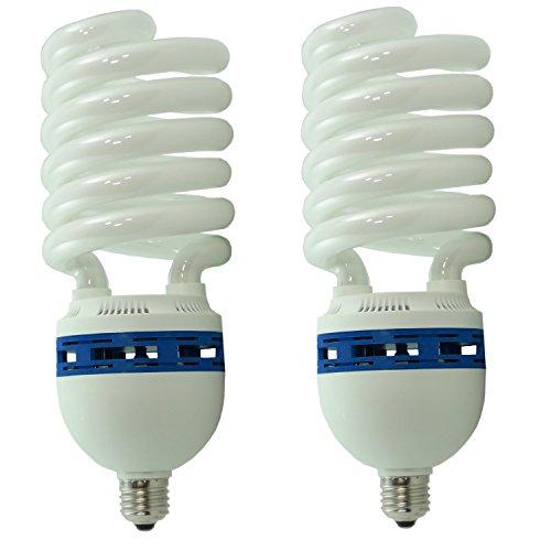DynaSun 2x Fotolampe Spirallampe Energiesparlampe SYD 85, 5400K Tageslichtlampe Studioleuchte, 400W weiß