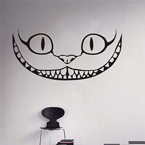 guijiumai Smiling Cheshire Cat Vinyl Aufkleber Im Wunderland Wandaufkleber Cartoons Home Interior Kinder Kinderzimmer Dekor rot M 80 x 40 cm -