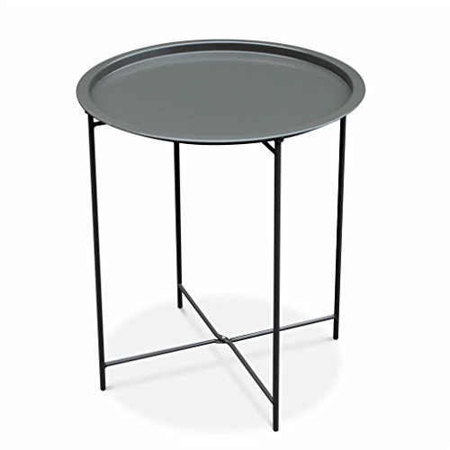 Alice's Garden - Table Basse Ronde – Alexia Gris Anthracite – Table d'appoint Ronde Ø46cm, Acier thermolaqué.