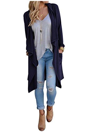 Aumir Cardigan lunghi donna Autunno Kimono Casuale Maxi Cardigan Maglieria Blu