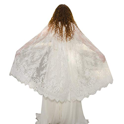 Damen Weiß Spitze Hochzeit Braut Cape Spitzen Jacke (Elfenbein, Einheitsgröße)
