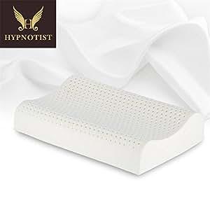 HYPNOTIST Oreiller Ergonomique en Talalay Latex Naturel 60*40*12cm/10cm Anti-humidité Anti-moustique Campagne