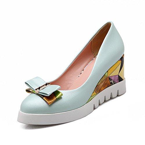 VogueZone009 Damen Hoher Absatz Weiches Material Rein Rund Zehe Ziehen Auf Pumps Schuhe Blau