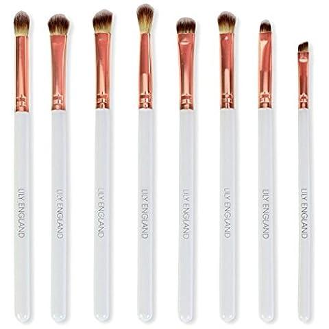 Set de pinceaux de maquillage pour les yeux Lily England or rose - Comprend 8 pinceaux pour les yeux