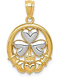 ICE CARATS 14kt Yellow Gold Irish Claddagh Celtic Knot Shamrock Pendant Charm Necklace Fine Jewelry Ideal Gifts For Women Gift Set From Heart