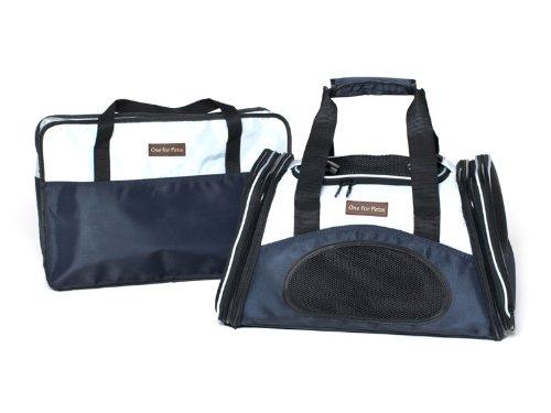 One for Pets The One Bag Transporttasche für Haustiere, erweiterbar, groß, Marineblau - Halterung für Auto und Gepäck im Lieferumfang enthalten