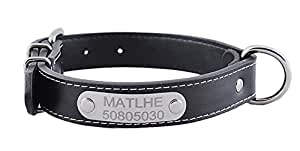Personalized Black PU Leather Dog Collar with Engraved Name ID Plate Pet Safety Collar - With Adjustable D-ring Metal Buckle Collar for Small Medium Large Dogs Cats