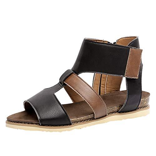 iYmitz Damen Mode Sommer Flach Sandalen Frauen Solide Peep Toe Sandals Sommerschuhe PU Strand Schuhe Zehentrenner(Schwarz,EU-42)