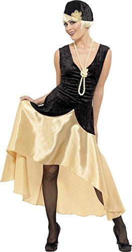 Smiffys, Damen 20er Gatsby Girl Kostüm, Kleid, Kopfbedeckung und Perlenkette, Größe: X1, 33368