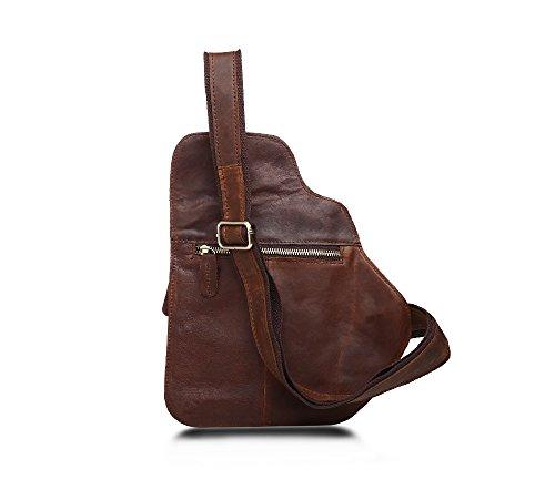 Sling Bag Spalla Degli Uomini Pacco Petto Retro Per Il Tempo Libero Sport Messenger Bags Cioccolato