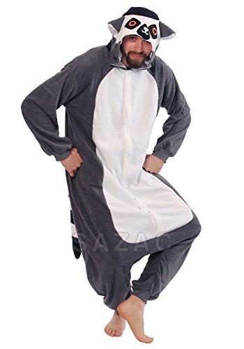 Japan Tiere Einteiler Madagaskar Ring Tailed Lemur kigurimi Pyjama Wieselmaki Kostüm Cosplay (Japanische Cosplay Kostüme Uk)