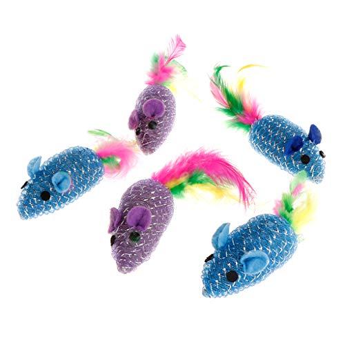 Koobysix Katzenspielzeug für Katzen, künstliche Maus, Feder, gefüllt, lustig, interaktiv, bunt, Geschenk für Ihre Katzen, 5 Stück -