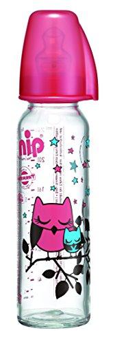 nip Flasche Glas 250 ml mit Standardsauger Milch für Junge oder Mädchen, sortiert, 1 Stück
