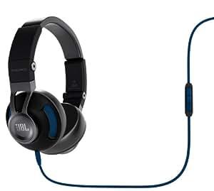 JBL Synchros S300A Premium On-Ear Stereo Headphone With Mic-Black/Blue