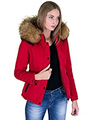 DSguided Qualität Mega Winter Jacke mit XXL Fellkaputze Echtfell und Lederapplikationen