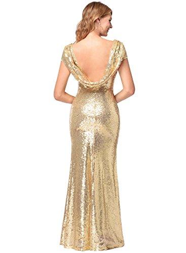 Frauen Kurzarm O-Ausschnitt Fischschwanz hell Abend Prom Pailletten Kleid Gold S - 5