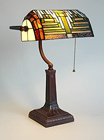 Bankers Table Lamp Antique Lighting Handmade Tiffany Desk Light Side Unique Home Office Stained Glass Shade Art Deco Traditional Style Large Bedside Resin Base Green Red Beige Colour Bulb Not Included******FREE DELIVERY*****