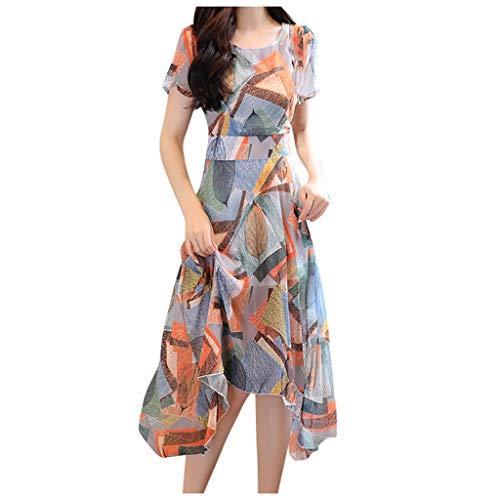 Fanxing Art- und Weisefrauen, die Kleid-regelmäßiges kurzes Hülsen-Oansatz-knielanges Kleid drucken (orange, M) -