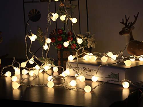 5 Meter Warmweiß Beleuchtung mit Fernbedienung Kugel Partylichterkette Innen- und Außen Deko Glühbirne Wasserdicht Deko Glühbirne für Valentinstag Party Garten Hochzeit Ferien Haus Weinachtsbeleuchtung [Energieklasse A++] ()