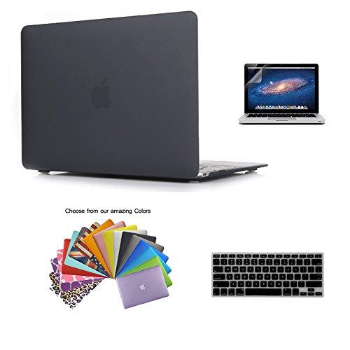 MacBook 12 Retina Case Custodia, TECOOL [Ultra Sottile Serie] Plastica Caso Rigida Copertina con Copertura della Tastiera e Schermo Protezione per MacBook 12 pollici con Retina Display Modello: A1534 - Nero