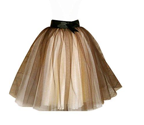 CoutureBridal® Jupe Tutu Femme Courte 5 Couches 2 Couleurs Princesse Tulle Jupe Elastic Ceinture avec Ceinture Champagne