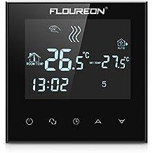 FLOUREON calefacción termostato 16A LCD Pantalla Táctil 6fases período 24horas programble eléctrico termostato calefacción por suelo radiante thernostat y controlador de temperatura
