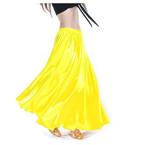 Wuchieal Bauchtanz Satin Rock Professionelle Tänzer Glänzender Full Round Swing Dance Skirt (Gelb, One Size)