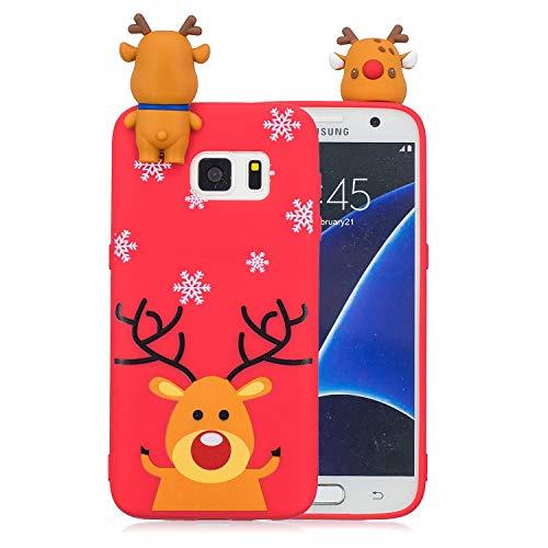 Yobby Noël Coque Samsung Galaxy S7,Coque Samsung Galaxy S7, 3D Cartoon Mignon Motif Ultra Mince Fine Etui Souple Silicone Caoutchouc Antichoc de Protection-Rouge Renne
