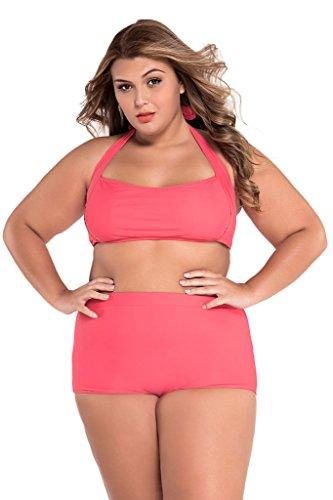 Preisvergleich Produktbild Loveours Hohe Taille Große Größen Strand Strappy bandeau Zweiteilige Bikini Rosa (XXXL)