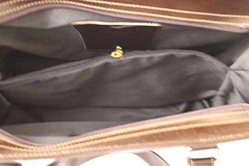CTM Borsa da Donna Classica, 38x27x12cm, Vera pelle 100% Made in Italy Marrone Scuro