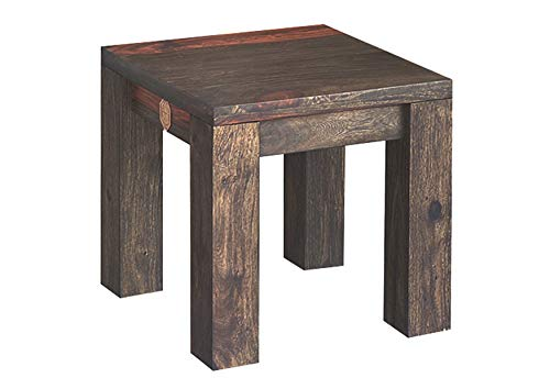 MASSIVMOEBEL24.DE Palisander Holz Möbel massiv geölt Hocker Sheesham Massivmöbel Holz massiv grau Pure Sheesham Strong Grey #790