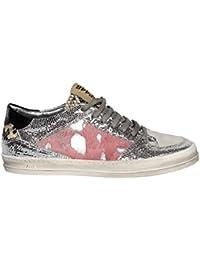P448 Sneaker Stringate in Simil Pitone Metallizzato con Rifiniture in  Camoscio Banda Laterale in Simil Cavallino e… 02a1906cedf