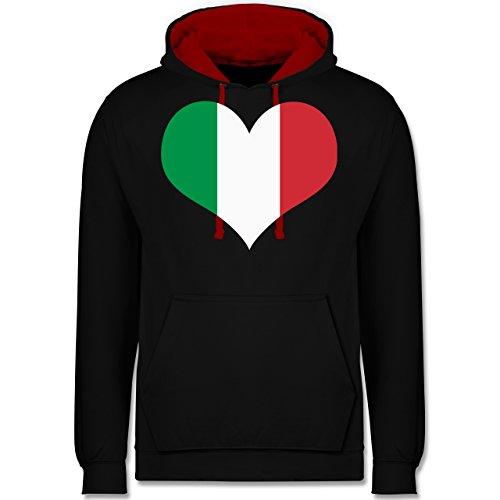 e3402c0e791e Länder Italien Herz Kontrast Hoodie Schwarz Rot
