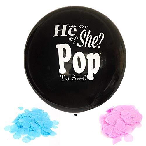 Ballons Konfetti Dekoration Kit für Mädchen oder Jungen? Pink & Blue Konfetti, riesige 36 Zoll schwarz Baby Duschen, Baby Geschlecht offenbaren Party Supplies (schwarz) (schwarz) ()