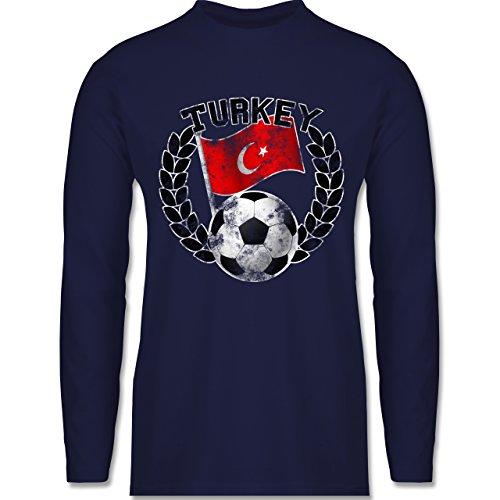 Shirtracer Fußball - Turkey Flagge & Fußball Vintage - Herren Langarmshirt Navy Blau