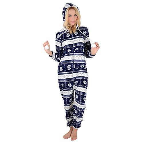 Damen Fleece Einteiler Pyjama in Marineblau - Schneeflocken Onesie