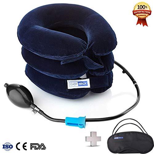Easyneck trazionatore cervicale gonfiabile - cuscino di trazione per sollievo immediato di dolore cronico al collo e tensione - fornisce supporto per la spalla - collare regolabile - in regalo benda per gli occhi