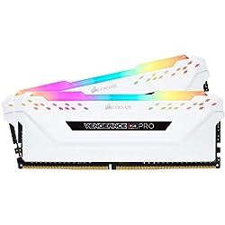 Corsair Vengeance RGB Pro - Kit de Memoria Entusiasta 16 GB (2 x 8 GB), DDR4, 2666 MHz, C16, XMP 2.0, Iluminación LED RGB, Blanco