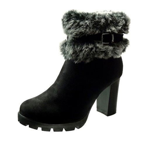 Angkorly-damen-Schuhe-Stiefeletten-Plateauschuhe-Pelz-Schleife-Blockabsatz-high-heel-9-CM-Schwarz-L-105-T-39