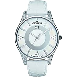 GROVANA 4411.7533 Women's Quartz Swiss Watch with White Dial Analogue Display and White Leather Strap